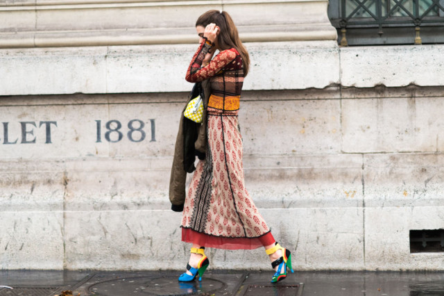 fall patchwork prints paisley fallboho prints -paris fashion week street style fall fashion elle