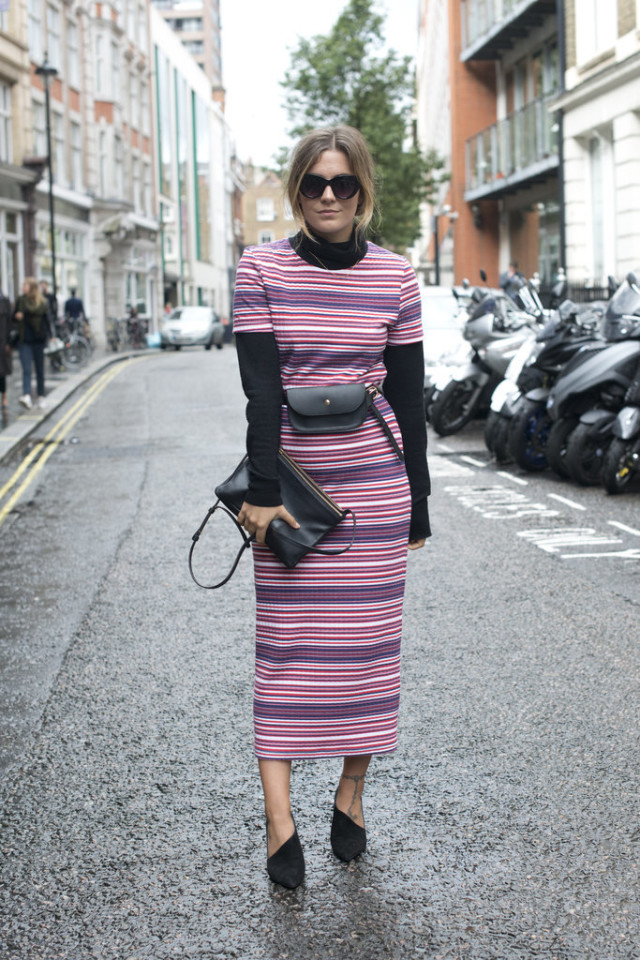 fall stripes-fall colors-turtleneck dress-turtleneck under dress-lfw-fall fashion-london fashion week street style-via-popsugar