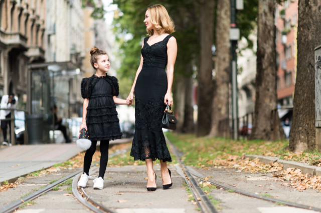 fall wedding black lace dress-milan fashion week elle