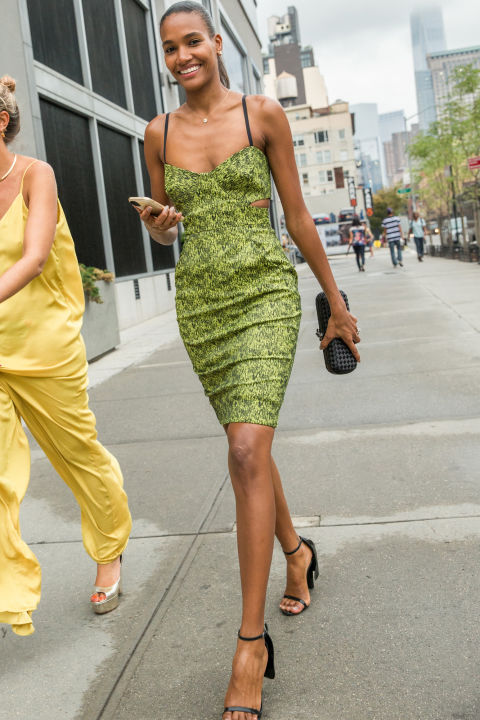 fall wedding-slip dress-green-cutouts-simpe sandals-nyfw street style-via-cosmo