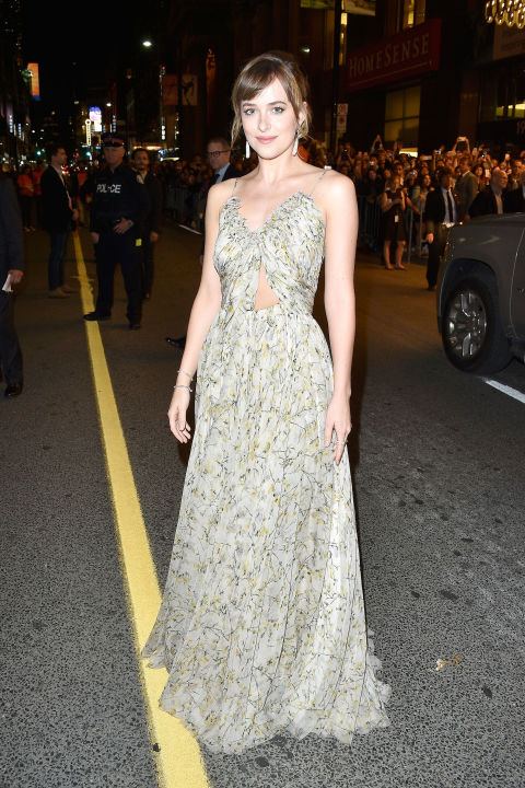 fall weddings-spring-floral dress-cutlout dress-gown-black tie-party-dakota johnson-via getty