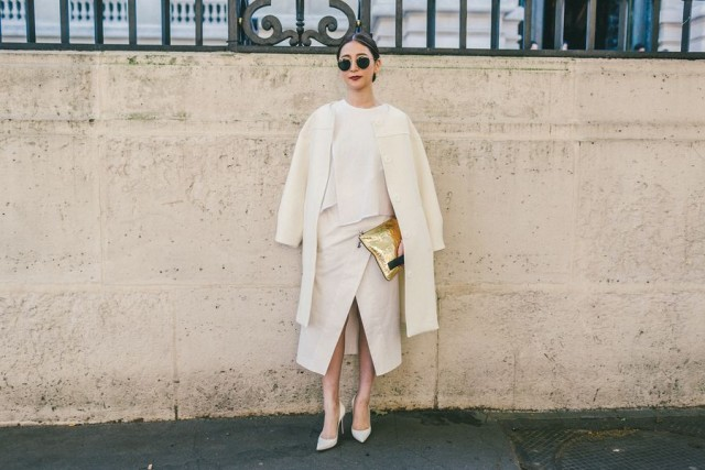 how to wear white skirts in winter, all white, monochromatic, ivory, cream, white wrap skirt, winter outfit, work outfit, holiday outfit, fall whites ivory wrap skirt cream whtie jacket fall work outfit gold clutch purse paris fashion week street style fall fashion racked