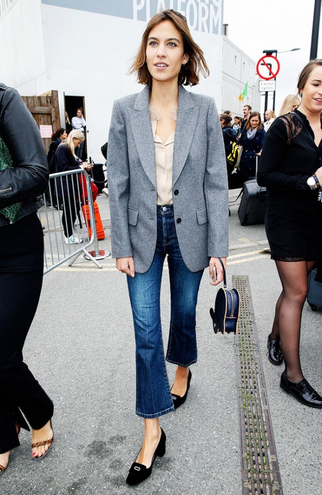 flared jeans-loafers-heeled loafers blazer alexa chung-www