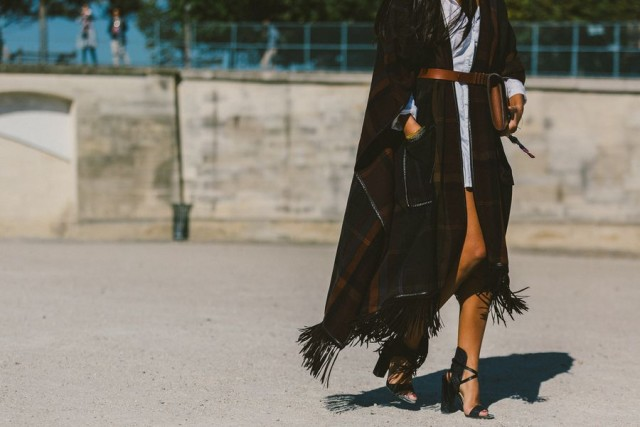 fringe plaid poncho shirtdress belted block heels paris fashion week street style fall fashion racked