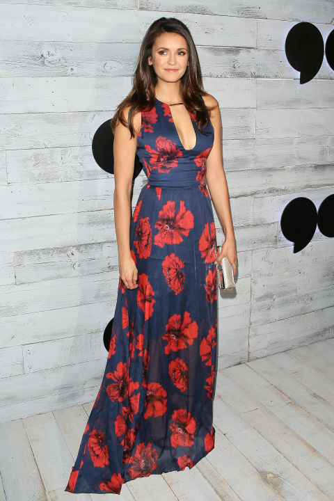 nina dobrev long floral print dress, fall florals fall wedding