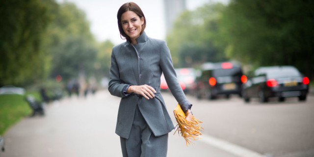 grey all grey, suit fringe bag lfw street style fall style