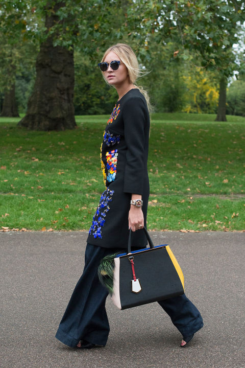 dress over pants, embellished dress, tassle fur bag, wide leg pants lfw street style fall style
