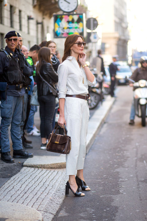 greige all white fall neutrals-belted-cutout heels-fall work outfits-classic-milan fashion week street style-via hbz