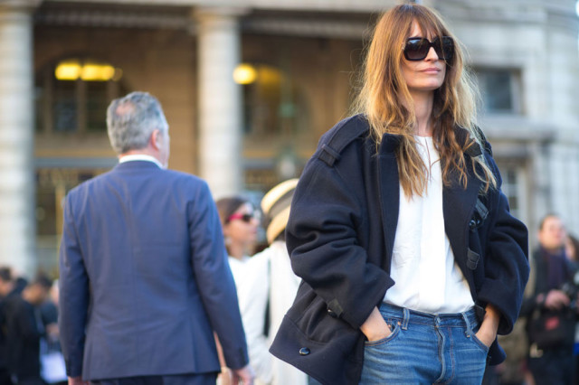 paris fashion week street style caroline de maigret mom jeans white tee navy coat fall coat