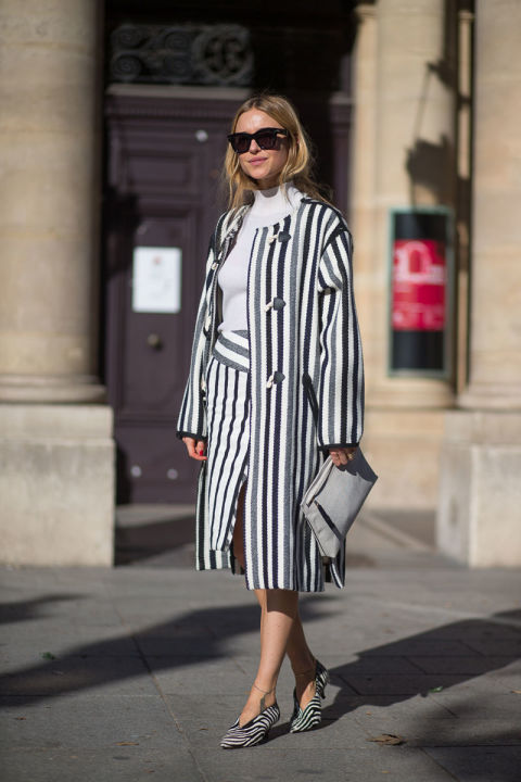 paris fashion week street style fall coat wrap skirt bold stripes grey greige mockneck funnel neck fall neutrals mod