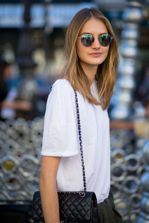 paris fashion week street style fall outfits white tee circle retro sunglasses