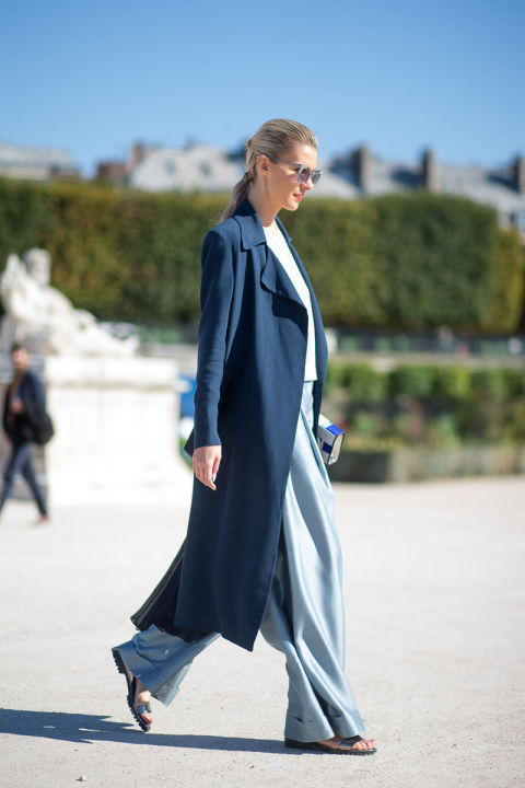 navy trench coat sky blue wide leg pants blue icy blue fall work outfits
