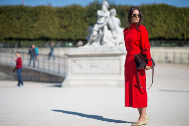 paris fashion week street styel red turtleneck sweater gold ballet flats