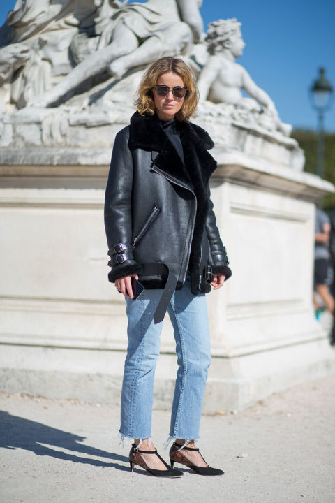 paris fashion week street style shearling moto jacket oversized fall coat turtleneck mom jeans frayed ankle strap heels