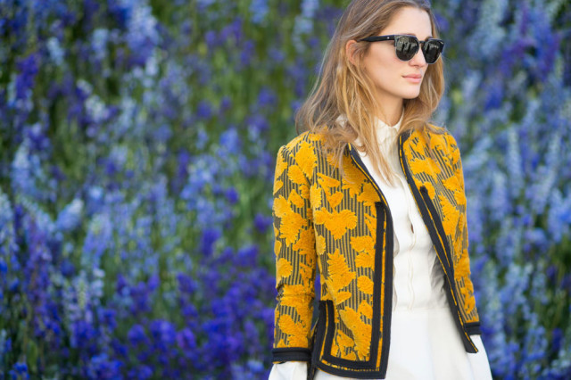 paris fashion week white oxford shirt fall florals gold yellow cropped jacket blazer