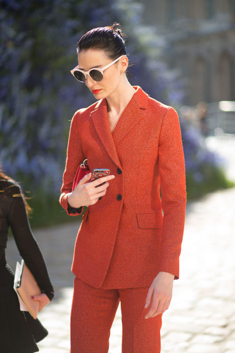 paris fashion week street style all fashion fall fashion pantssuit burnt orange