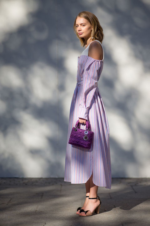 paris fashion week street style fall fashion striped shirt dress off the shoulder suiting stripes purple