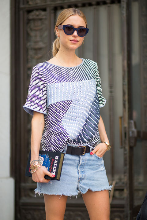 cutoffs fall outfits belt, mixed prints patchwork prints 3d prints textured tops look de pernille transitional dressing summer to fall dressing