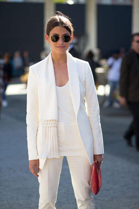 amanda weiner, all white white after labor day white pantsuit, fringe hbz