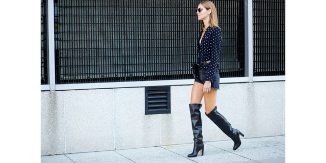 nyfw street-style-nyfw-ss2016-knee boots, platform knee boots, cutoffs, fall prints, printed blouse, going out, night out date night, blonde salad