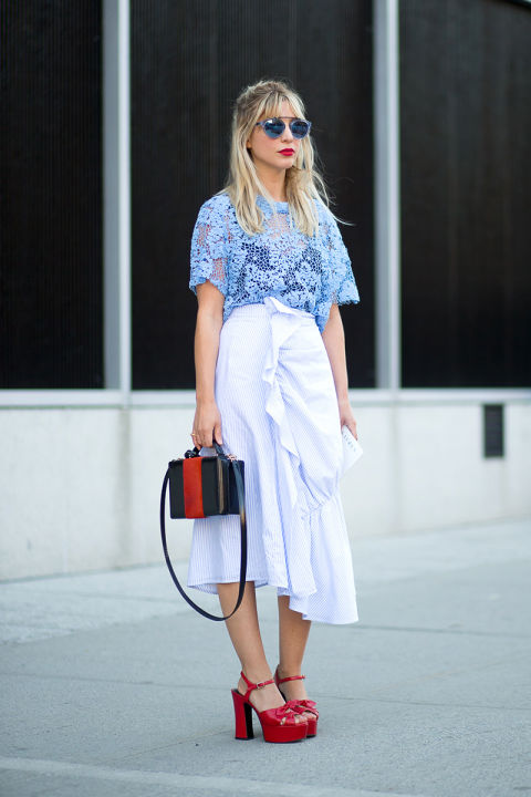 asymmetrical hankerchief hem skirt, ruffle, ruffle skirt, sheer, lace top, blue, icy blue, kiery harpers bazaar editor, box bag, colorblock bag, summer to fall dressing, red platforms, platform sandals, nyfw-street-style-nyfw-ss2016-day8-06
