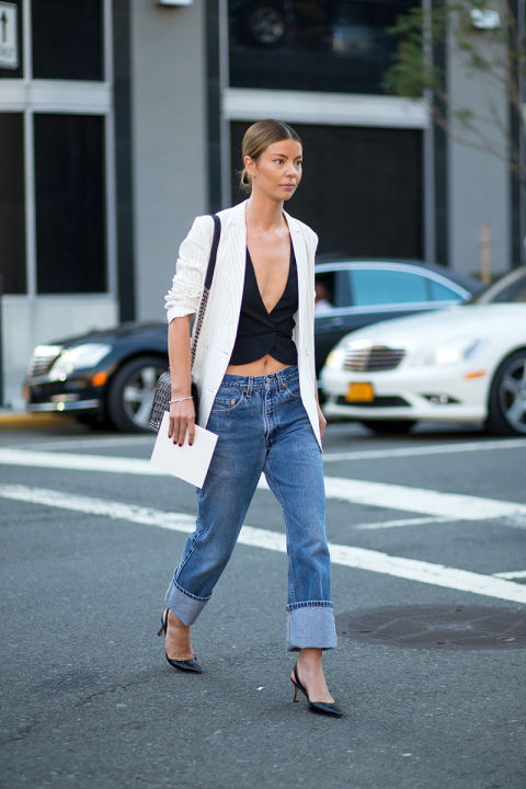 white blazer, white boyfriend blazer, crop top, vest, boyfriend jeans, cuffed jeans, oversized mens jeans, going out outfit, fall outfit, transitional dressing, date night, summer to fall dressing pumps, slingback pumps, nyfw street style ss 2016 via harpersbazaar.com