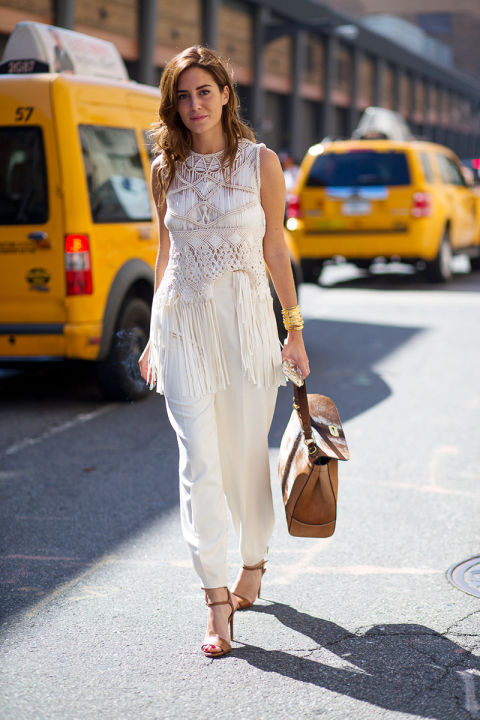all white, white after labor day, fringe, macarame, white pantstrousers, tan sandals, tan, gold bangles, work outfit, summer to fall dressing, nyfw street style ss 2016 via harpersbazaar.com