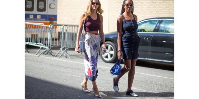 denim dress, sneakers, flats, creepers, crop top, printed midi skirt, pumps, going out outfit, party outfit, date night outfit, summer to fall dressing, dressing for hot fall weather, indian summer, editor style, nyfw street style ss 2016 via harpersbazaar.com