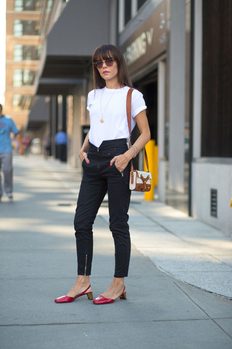 white tee, pendant, black high waisted tapered skinny pants, zip ankles, black and white, red block heel shoes, ladylike loafers mules, fall neutrals, fall work outfit, going out, nyfw street style ss 2016 via harpersbazaar.com