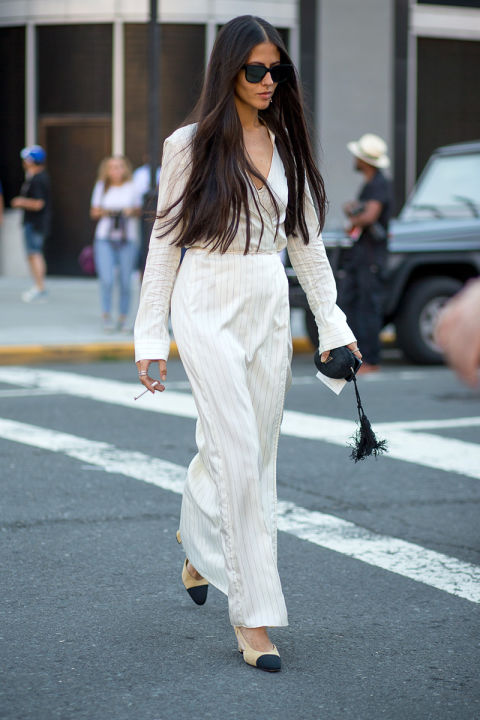 jumpsuit, pinstripes, fall maxi dress, bell sleeves, menswear, two tone shoes, fall going out work outfits, high waisted, nyfw street style ss 2016 via harpersbazaar.com