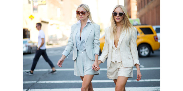 shorts suit, summer work outfits, twinning, twins, summer suits, icy blue blue grey blue, shorts suit, shorts to work, fall work outfits, indian summer, fall brunch shower, blazers, nyfw street style ss 2016 via harpersbazaar.com