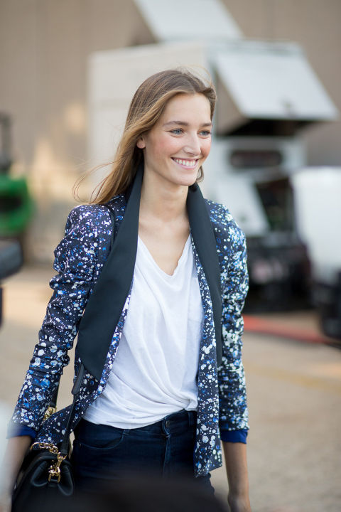 printed blazer, printed tuxedo blazer, splatter paint print, knotted shirt, knotted white tee, fashion style hack, fall outfits, going out outfits, date night, model off duty style, nyfw street style ss 2016 via harpersbazaar.com