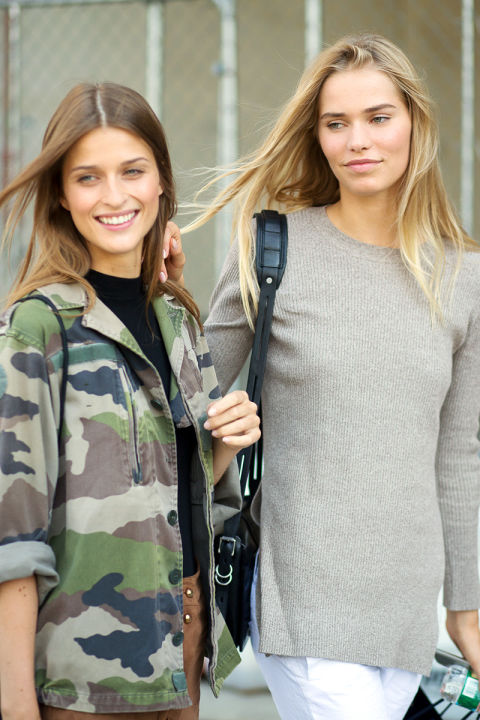 camo model off duty style fal lneutrals, fall weekend nyfw street style ss 2016 via harpersbazaar.com