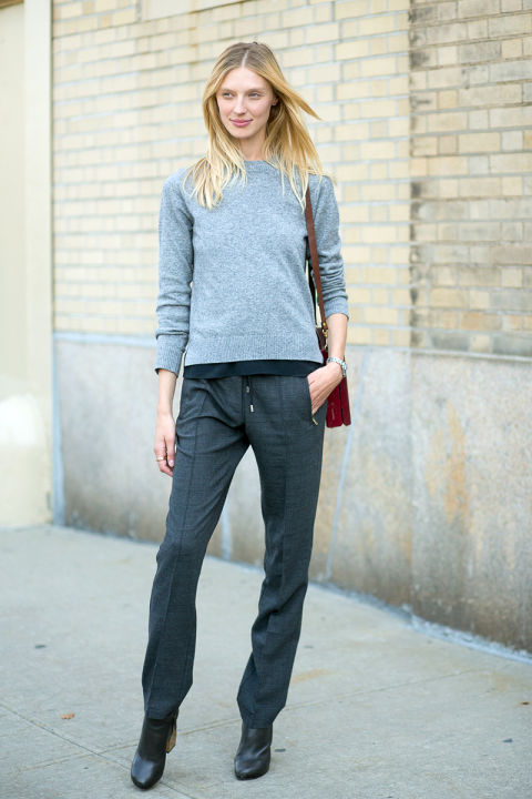 grey, monochromatic, model off duty style, menswear, tomboy, trousers, booties, drawstring pants, joggers, fall outfit, fall work outfit, nyfw street style ss 2016 via harpersbazaar.com