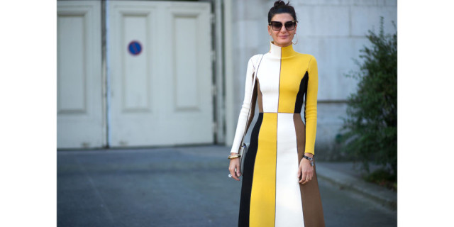 fall colorblock turtleneck sweater dress fall colors yellow paris fashion week street style harpersbazaar.com