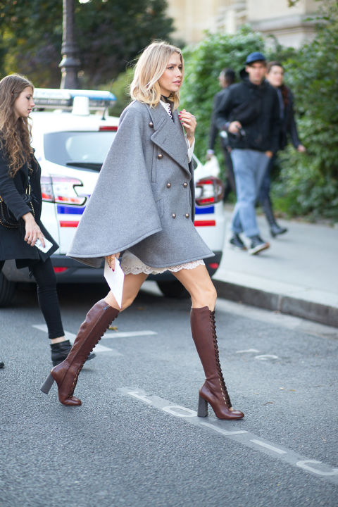 grey cape lace up knee boots lace dress whtie lace dress gray paris fashion week street style harpersbazaar.com