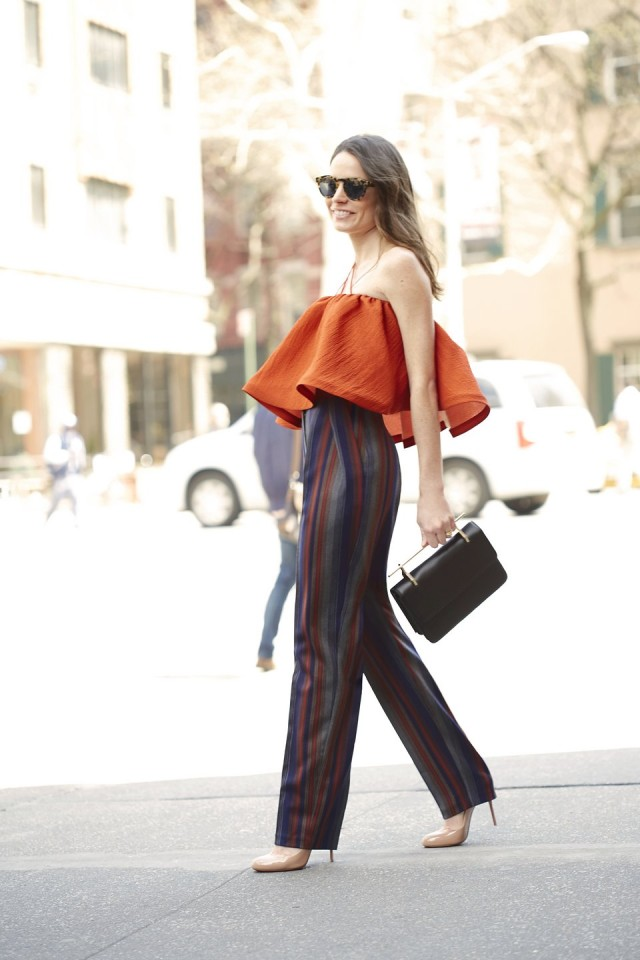 going out outfit, fall colors burnt orange, ruffled top, strapless top crop top, striped pants, fall stripes, fall colorblock, going out, night out, date night party-elizabeth-leventhal