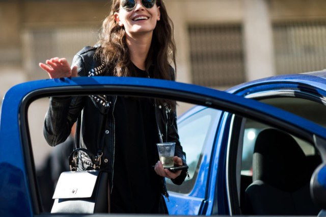 lbd-black moto jacket-studded moto jacket-milan fashion week street style-via elle.com