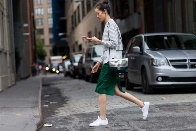 leather-green knee skirt-pencil skirt-adidas sneakers-white sneakers-crop top-oxford button up shirt-via the styleograph