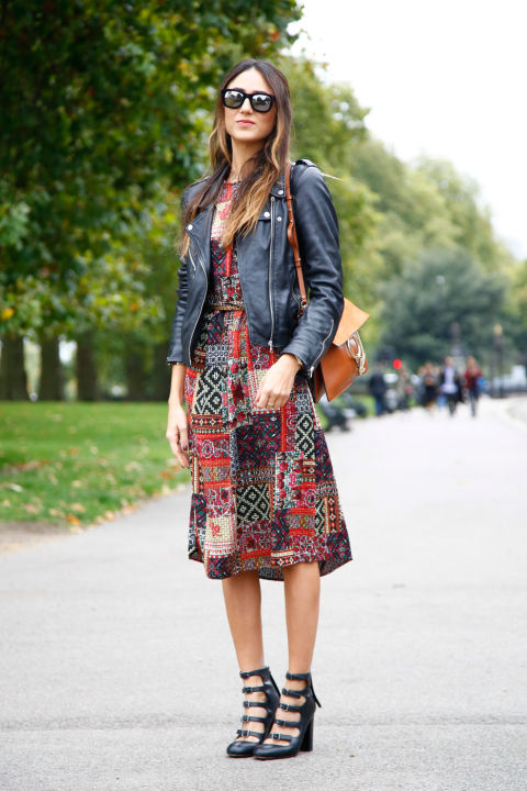 lfw street style fall style patchwork print dress, black leather moto jacket, fall dresses lace up buckle wedges