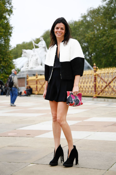 lfw street style fall style  black and white, fall booties, bomber jacket, poof shoulder cocoon sleeves