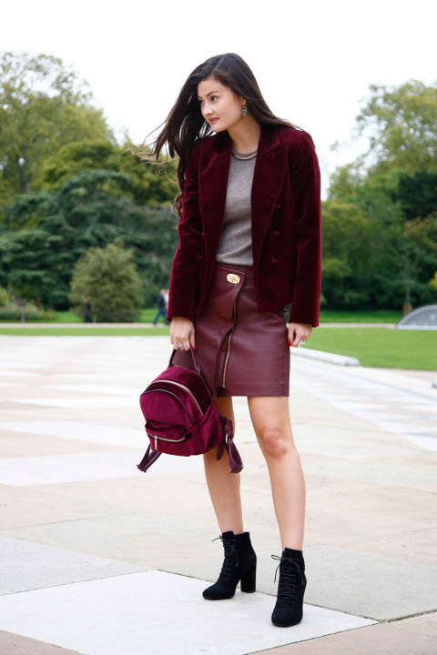 lfw street style fall style velvet blazer, burgundy leather skirt, backpack fall booties lace up booties