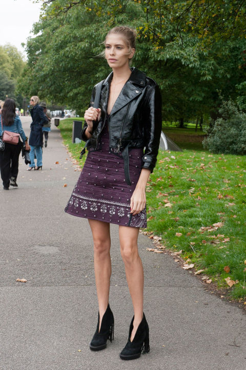 lfw street style fall style leather moto jacket, boho prints, fall booties