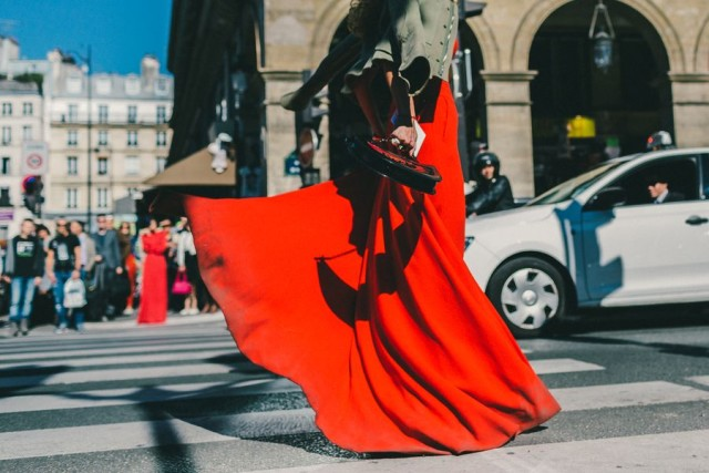 long red maxi dress army jacket evening to day night to day dressing paris fashion week street style fall fashion racked