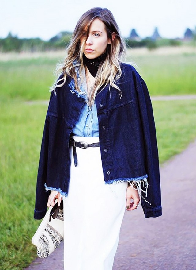 white pencil skirt, western belt, chambray shirt, denim jacket, bandana, fall transitional dressing