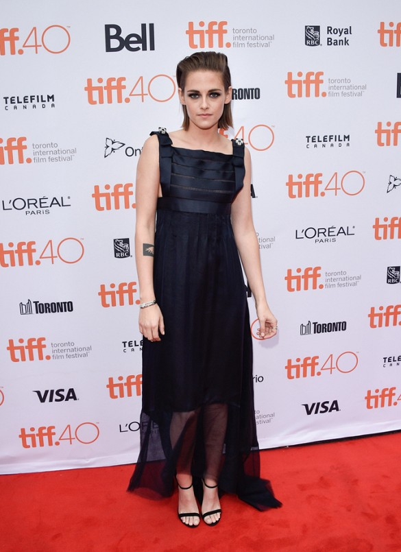 kristen stewart black tie dress sheer skirt