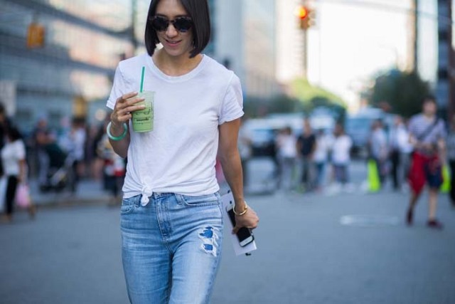 eva chen knotted white shirt, distressed denim