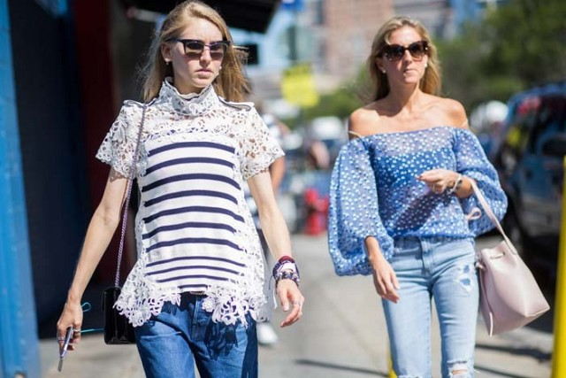 teen vogue editors, jessica, fringe, lace, high neck lace, off the shoulder shirt, jeans, flares, nyfw, fall fashion