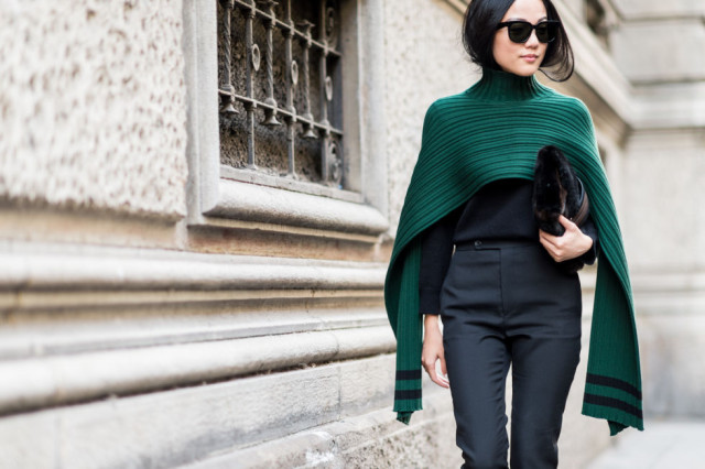 memerald turtleneck poncho cape fall work outfit-all black high weaisted black pants milan fashion week elle
