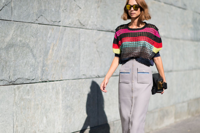 milan fashion week street style-via elle.com-rainbow stripes striped fall stripes geometrica -midi button fron tskirt-grey